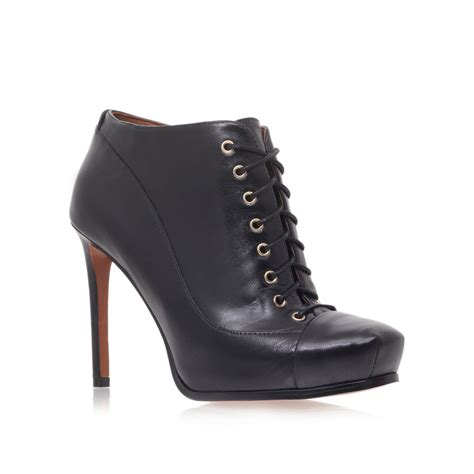 lace up high heel boots nine west oliviana high heel lace up shoe boot in black lyst