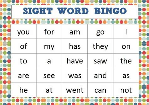 sight words bingo card template 22 best sight word bingo cards images on sight