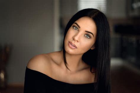 female models with black hair women model face portrait bare shoulders black hair