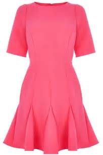 wholesale ladies pink fluted hem skater dress from china