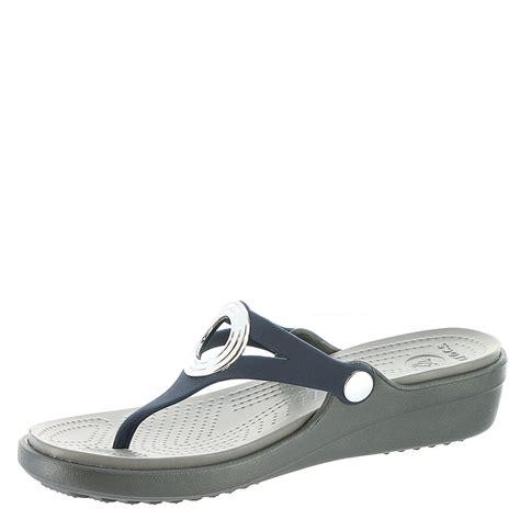 crocs sanrah sandal crocs sanrah beveled circle wedge flip s sandal