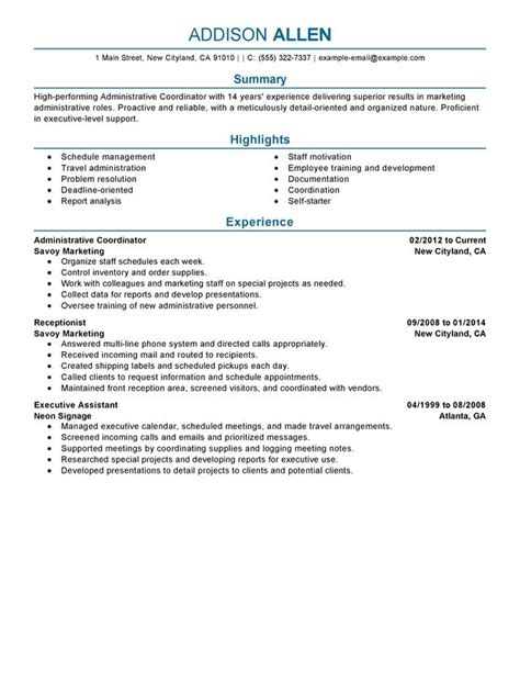 Office Coordinator Resume by Unforgettable Administrative Coordinator Resume Exles