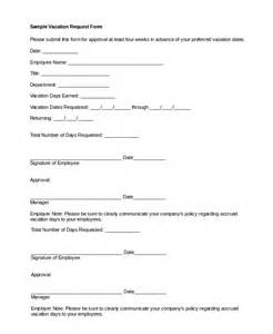 vacation request template sle vacation request form 8 exles in pdf word