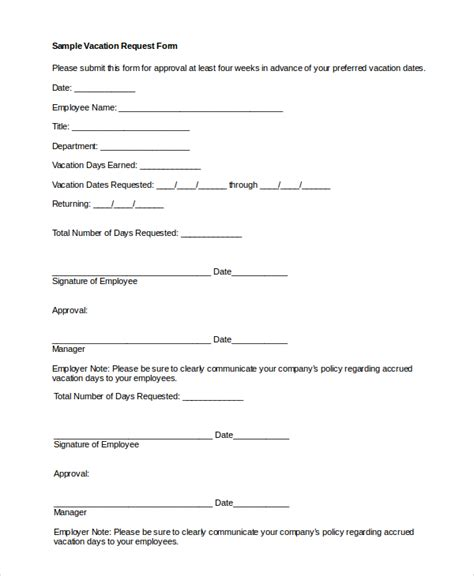 sle vacation request form 8 exles in pdf word