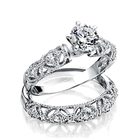 925 silver vintage 75ct cz engagement wedding ring set