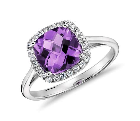 amethyst and halo cushion ring in 14k white gold