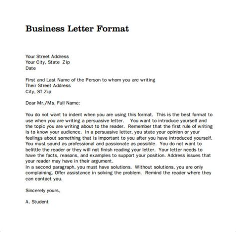 business letter hanging format business letter format sle template
