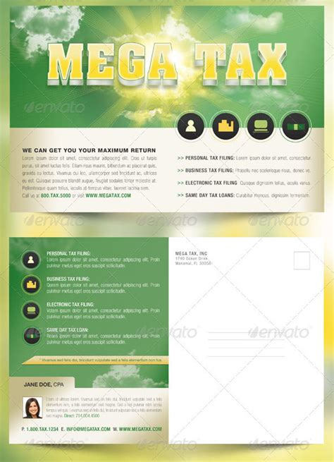 Mega Tax Flyer And Postcard Photoshop Template By Godserv On Deviantart Tax Flyer Templates Free
