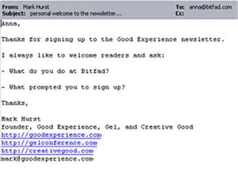 the welcome email don t the date