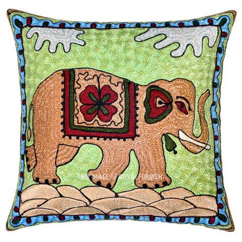 16 quot cotton decorative embroidered elephant throw pillow