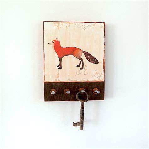 fox key holder cottage decor rustic home decor entry