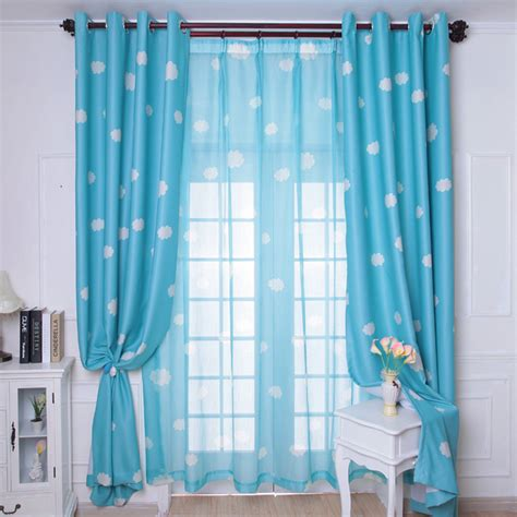 Sky Blue Curtains New Arrival Fresh Blue Sky Clouds Curtain Child Real Blackout Curtains Free Shipping Incurtains