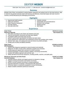 Jobs On Resume In What Order by Order Picker Resume Examples Government Amp Military
