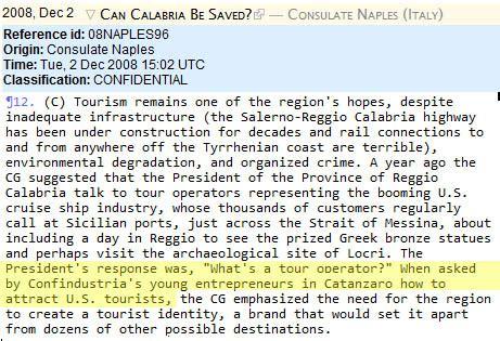 console americano a roma cos 232 un tour operator su wikileaks il cablogramma