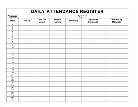 weekly attendance sheet child care