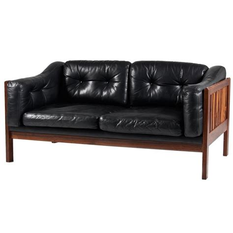 mahogany leather sofa mahogany and leather sofa quot monte carlo quot 1965 at 1stdibs