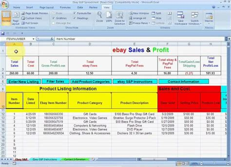 Ebay Profit Spreadsheet by 17 Best Images About Business Related On