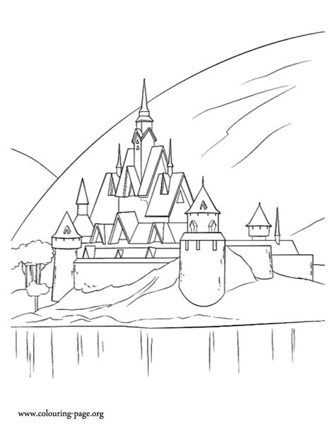 Arendelle Castle Coloring Page | frozen a beautiful castle in arendelle coloring page