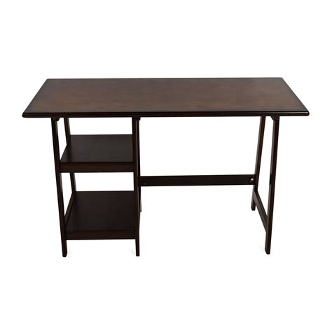 81 Off Dark Brown Wood Home Office Desk Tables Office Desk Table