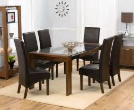 Glass Dining Room Tables And Chairs by Rochelle Walnut Amp Glass Dining Table Oak Furniture Solutions