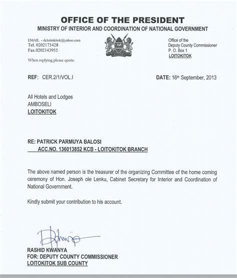 Huntington Bank Letterhead Here Is Office Of President In An Illegal Fund Raising For Ole Lenku S Home Coming Kenya