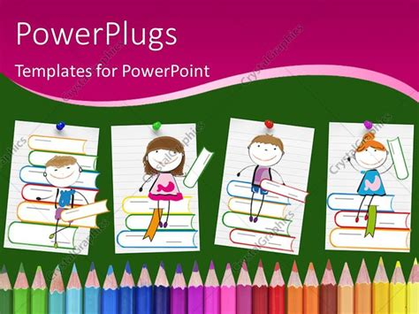 Powerpoint Template Drawings Of Smiling Children Sitting On Books Above Colored Pencils 2627 Children S Book Powerpoint Template