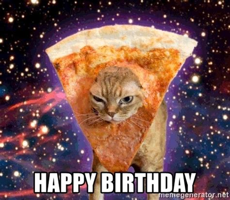 Birthday Cat Meme Generator - happy birthday pizza cat meme generator