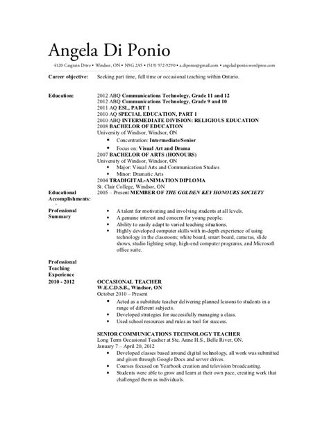 sle teaching resume ontario cover letter ontario