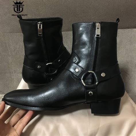 Best Item Wedges Resleting R29 Quality real picture high quality handmade high top classic black sewing line genuine leather wedge