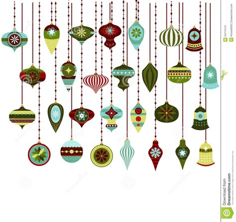 retro christmas ornaments vector clipart stock vector
