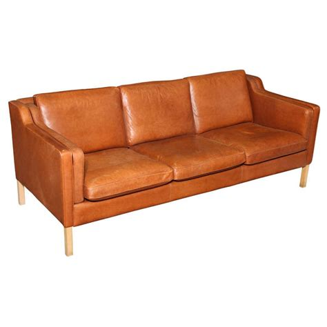 danish loveseat danish modern cognac leather 3 seater sofa at 1stdibs