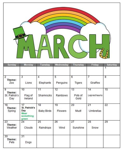 kindergarten themes march march