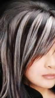 putting dark streaks in grey hair dark brown hairs