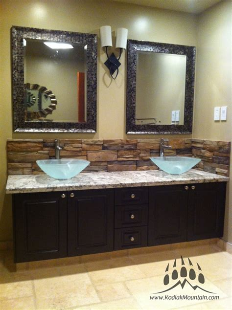 bathroom vanity backsplash ideas bathroom back splash kodiak mountain stone frontier