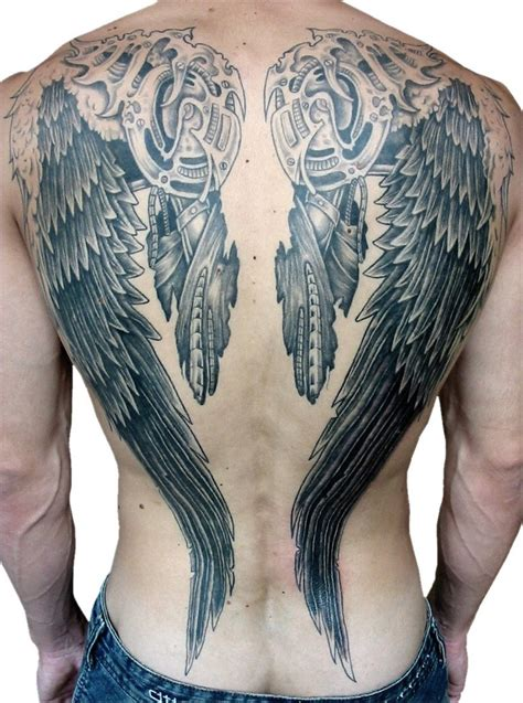 male 3d design cross and angel wings tattoo tattoos win