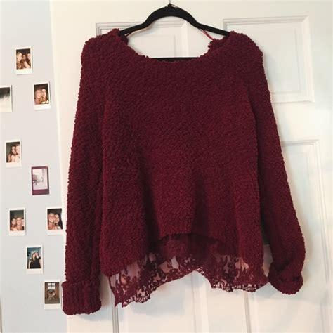 Sad Lace Sweater Top 21536 58 lf sweaters lf comfy maroon sweater with lace on the bottom from s closet on