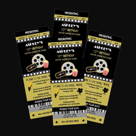 Printable Personalized Tickets | printable movie night party ticket invitations