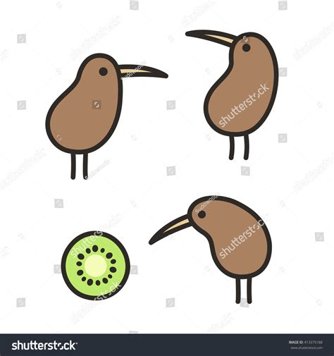 doodlebug nz set doodle kiwi birds kiwi fruit stock illustration