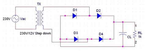 wave rectifier circuit diagram center tapped