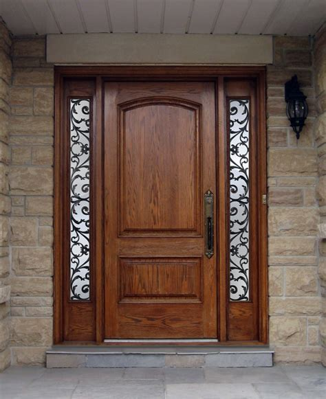 Custom Wood Doors Custom Wood Door With Worught Iron Sidelites Wood Door