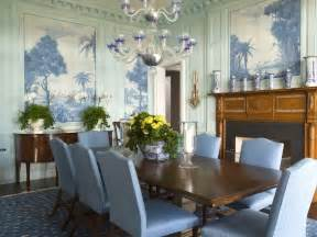 Blue Dining Room Centerpieces Blue Dining Room With Murals Wall Decor Eclectic Home