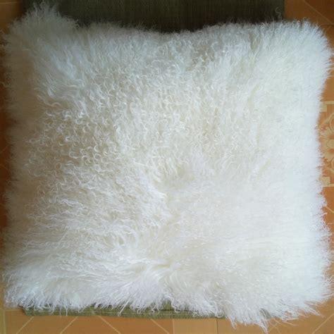 2016 real white mongolian fur pillow cover cushion