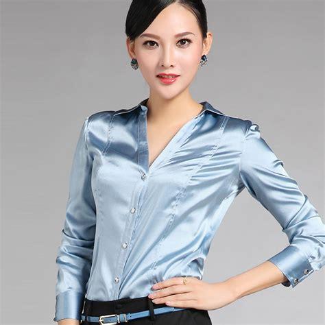 Top Us Pakaian Wanita Blouse Hitam Putih 1 gaya eropa formal autumn wanita silk biru merah putih hitam blouse fashion kualitas