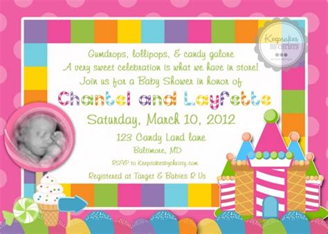 Candyland Baby Shower Invitations by Custom Photo Candyland Baby Shower Invitation