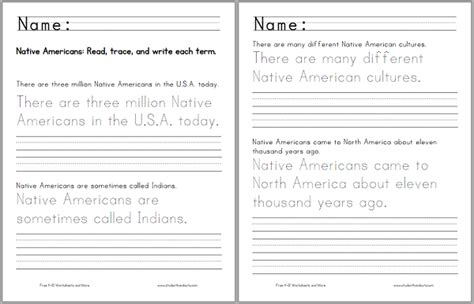 free printable handwriting worksheets with sentences there are three million native americans in the u s a today