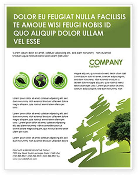 Green Tree On Light Olive Background Flyer Template Tree Lighting Flyer Template