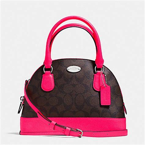 Coach Mini Brown Fuchsia coach f34710 mini cora domed satchel in signature coated canvas silver brown neon pink