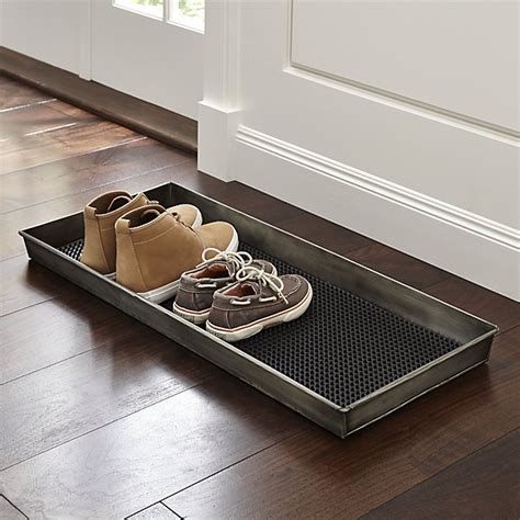 Mudroom Floor Ideas by Zinc Boot Tray With Liner Crate And Barrel