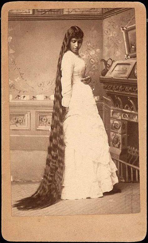 woman  unbelievably long hair  victorian era