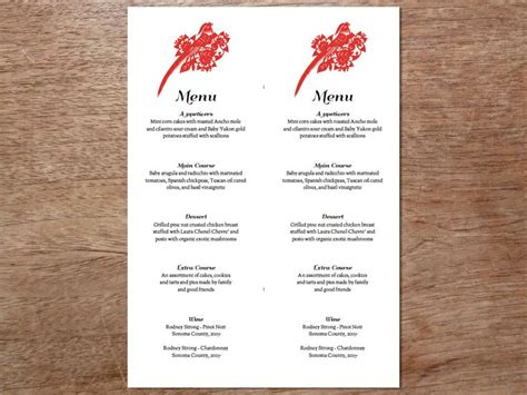 menu template for pages 49 best printable wedding menu templates images on